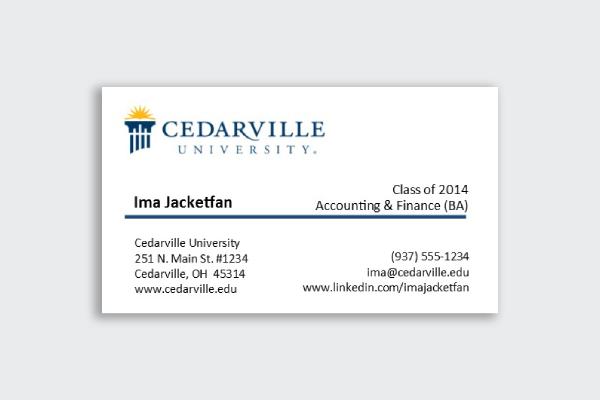 cedarville university business card