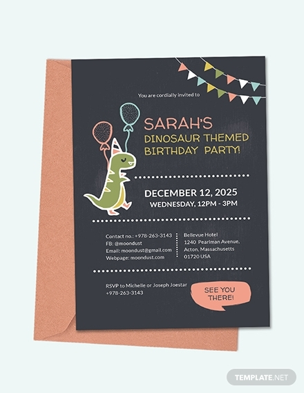 chalkboard dinosaur birthday invitation
