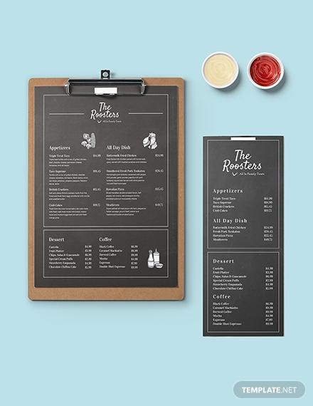 chalkboard menu card