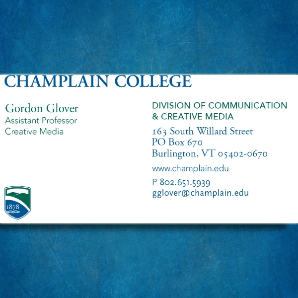 champlain college business card