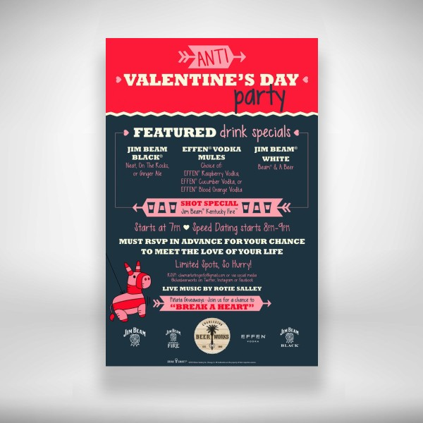 charleston beer works' anti valentine's day party flyer