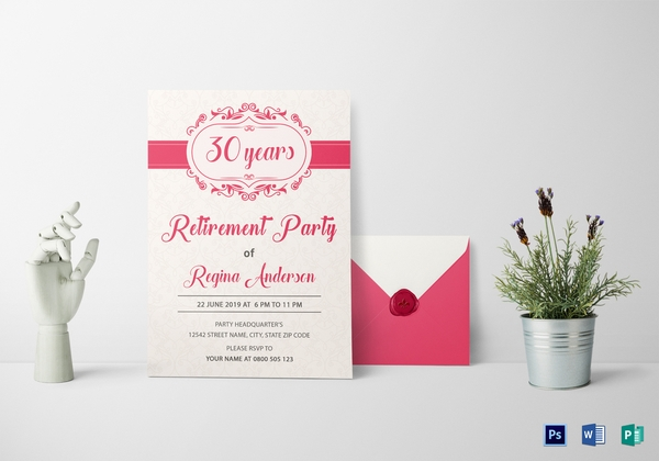 chic retirement party invitation