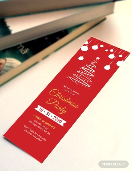 christmas party bookmark
