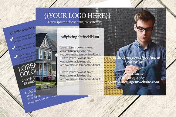 clean real estate postcard template
