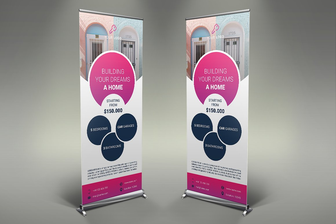 clean real estate rollup banner psd