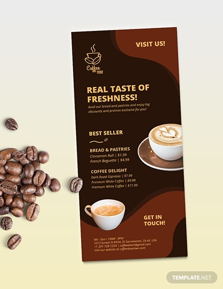 coffee shop advertisement rack card