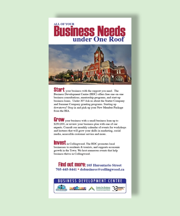 collingwood business investment rack card