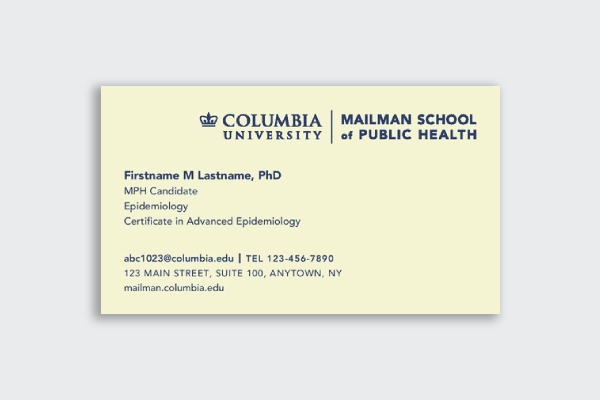 columbia university business card