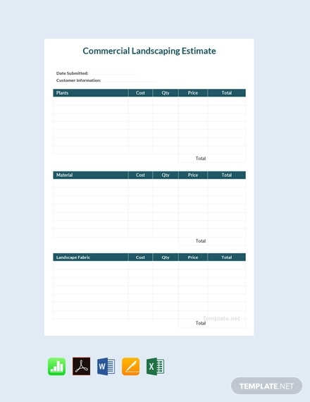 commercial landscaping estimate sheet