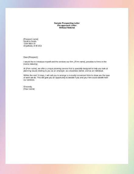 commercial real estate planning prospecting letter