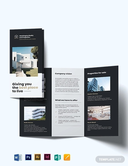 commercial realtor tri fold brochure template