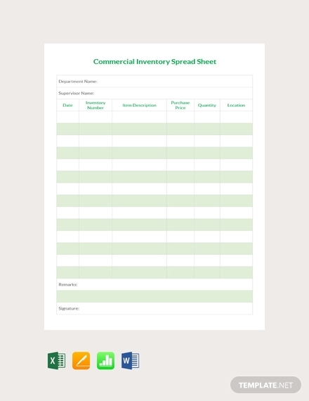 commercial inventory spreadsheet