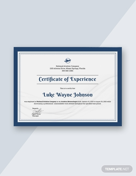 company experience certificate