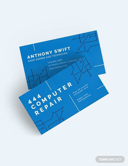 computer repair shop business card