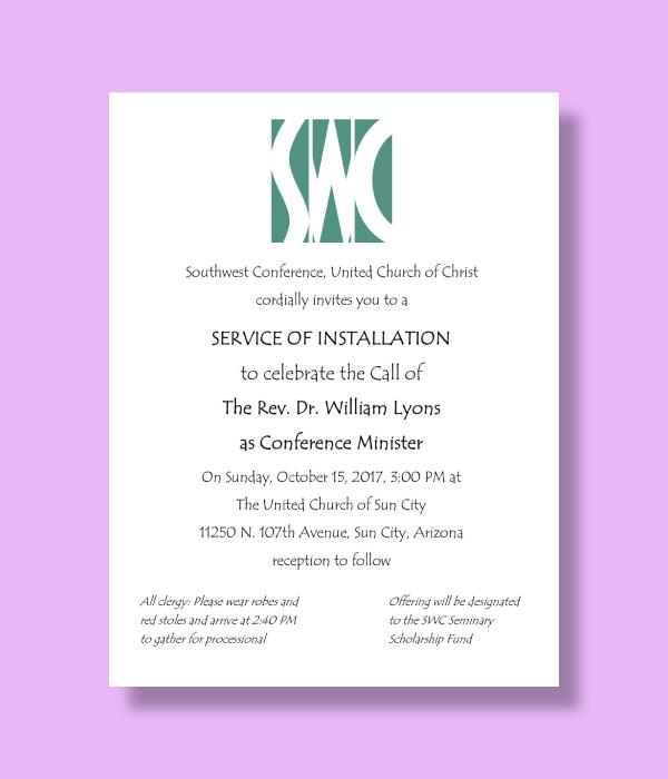 conference minister installation service invitation