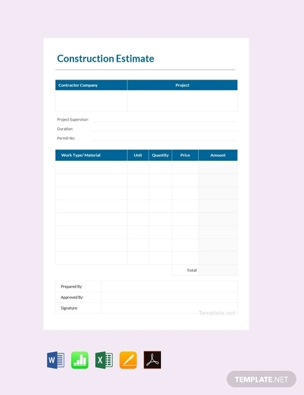 construction estimate sheet