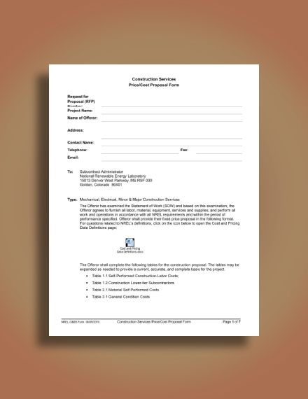 construction quotation form