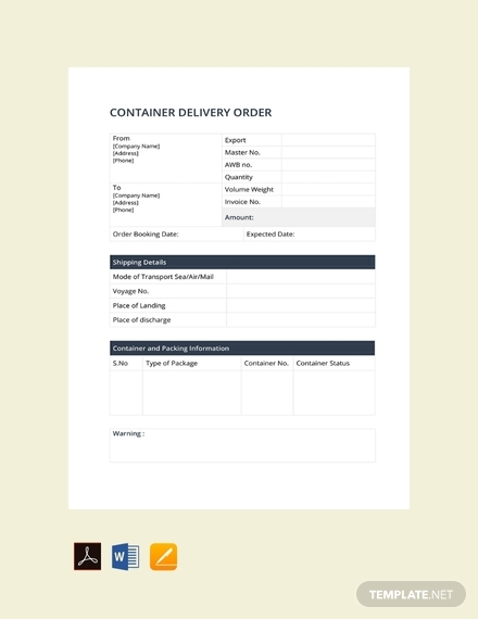 container delivery order