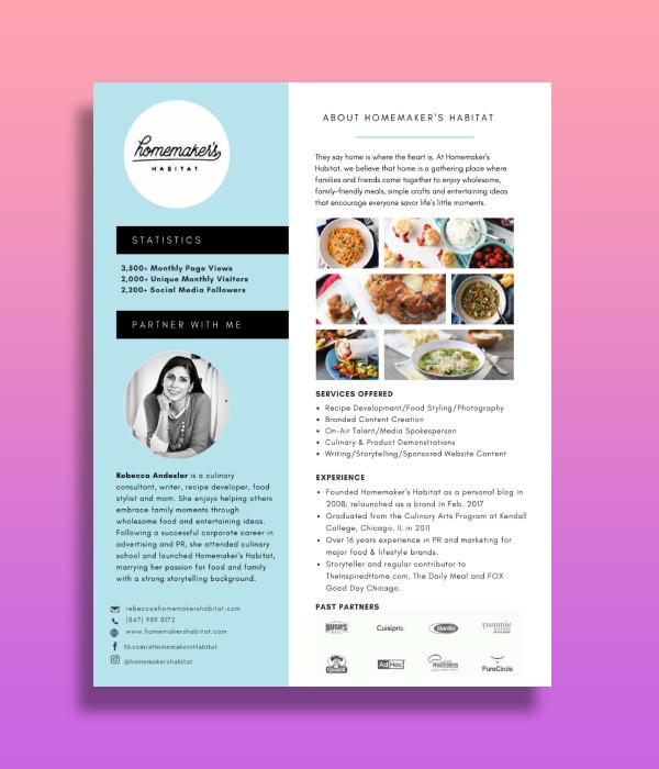 cooking blog media kit
