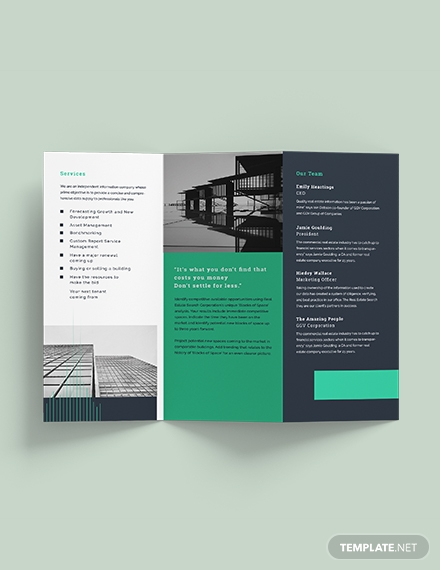 corporate real estate sales brochure template