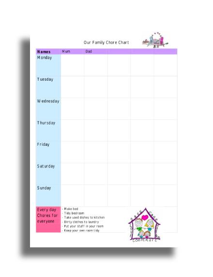 daily family chore chart