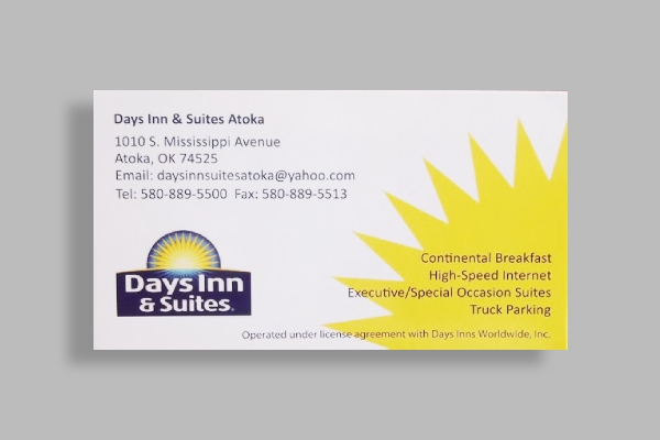 days inn and suites business card