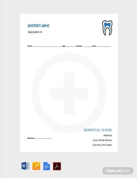 dentist doctors prescription note