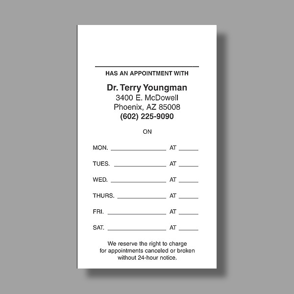 doctor appointment card