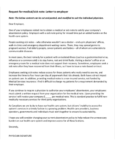 doctor medical excuse note to employer