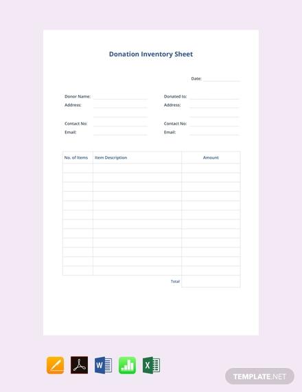 donation inventory sheet