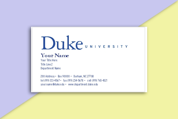 duke university business card