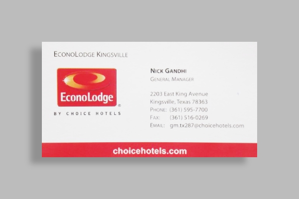 econolodge by choice hotels business card