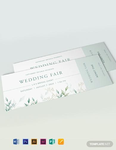 elegant wedding fair ticket