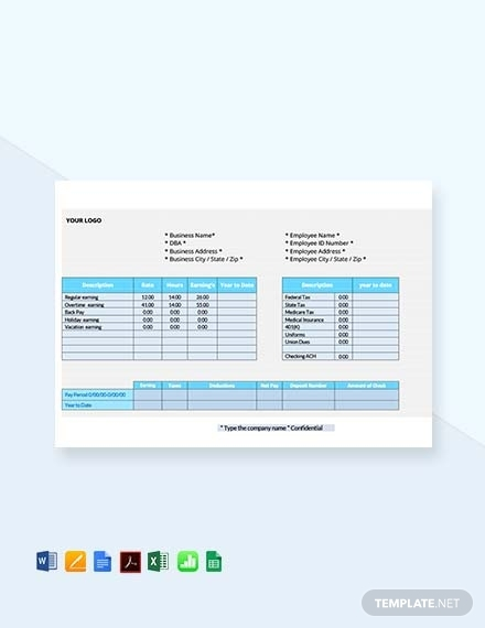 employee pay stub sheet template