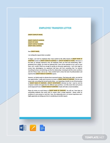employee transfer letter template