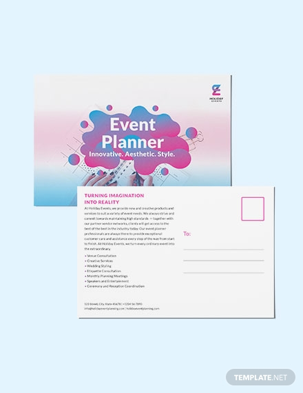 event planner post card