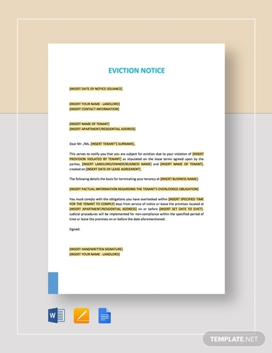 eviction notice to tenant