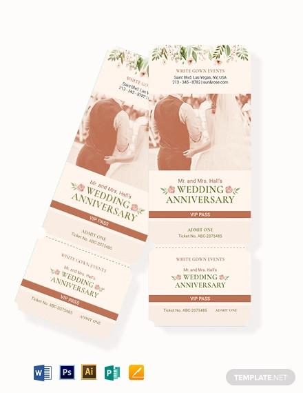 fall wedding vip ticket template