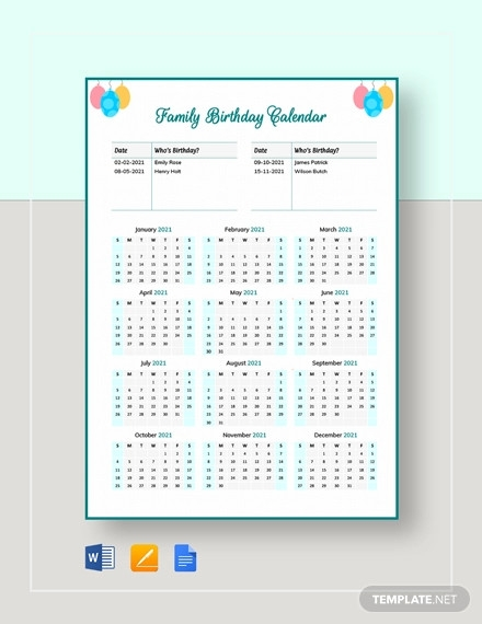 family birthday calendar template
