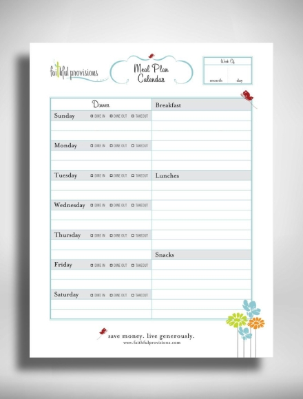 family meal planning calendar