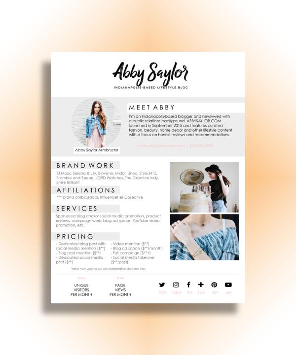 fashion and lifestyle blog media kit