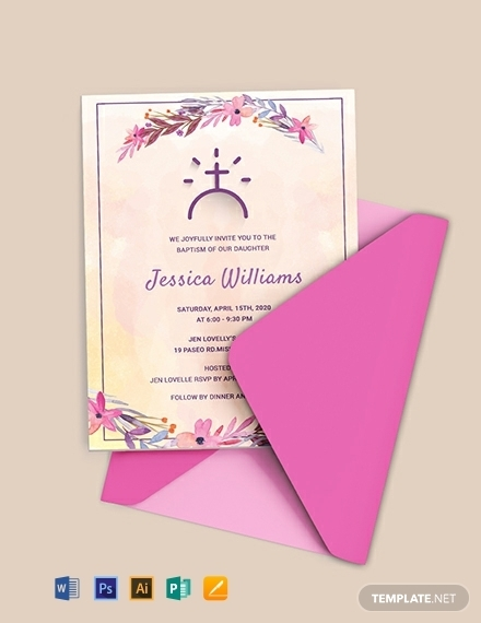 floral baptism invitation