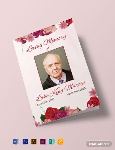floral obituary bi fold brochure
