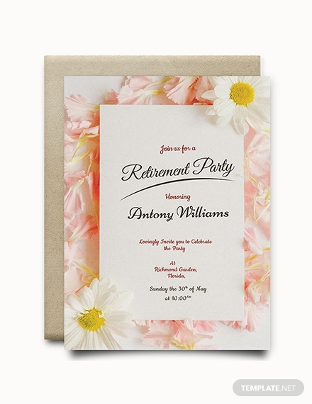 floral retirement party invitation