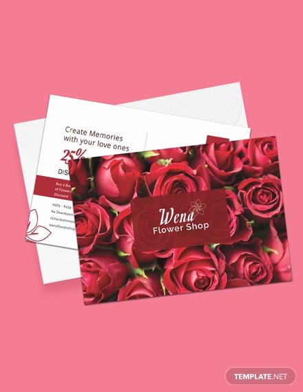 flower shop promotional postcard