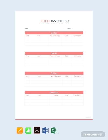 food inventory sheet