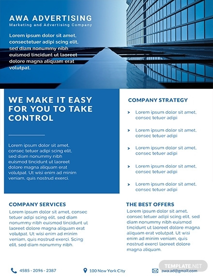 free advertising company datasheet template 1x