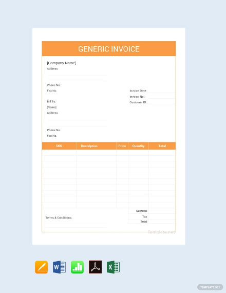 free editable generic invoice template