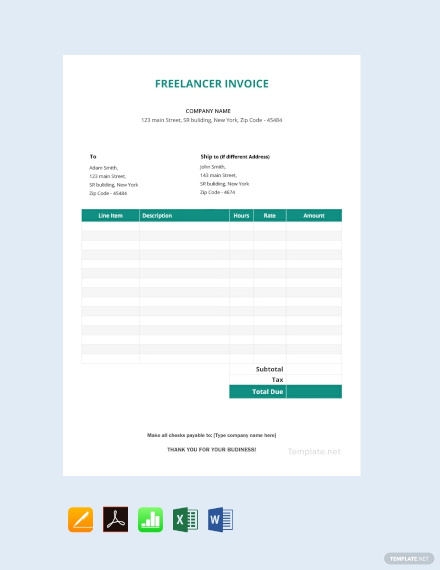 free freelancer invoice template