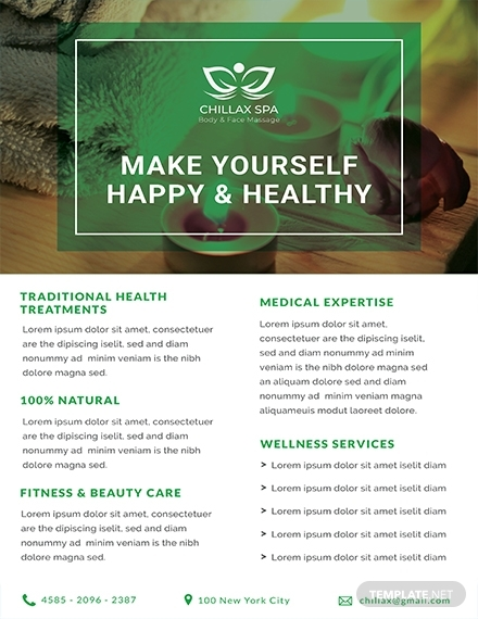 free health spa datasheet template 1x